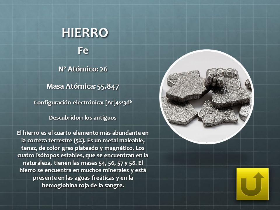 Configuración electrónica: [Ar]4s23d6 Descubridor: los antiguos